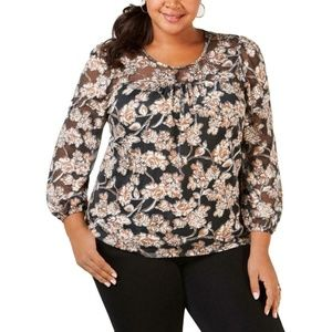 NY Collection Black Floral Print Peasant Blouse